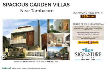 Book spacious garden villas @ Rs 60 Lakhs at S&P Signature Villas in Chennai